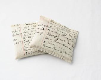 Lavender Drawer Sachets, Cream Beige Antique Ledger Handwriting, Gifts for Mom