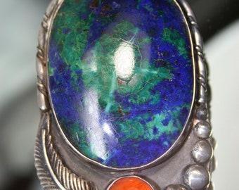 Vintage Sterling and Azurite/Malachite Bolo- Southwestern Design