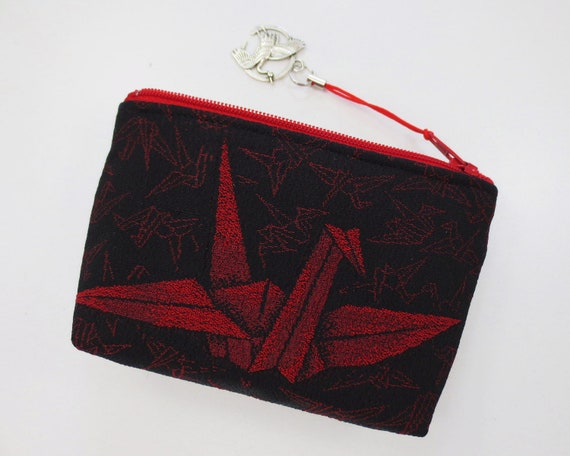 Origami Crane Coin Purse/ Zipper Pouch Made From by KazStyle - photo#4