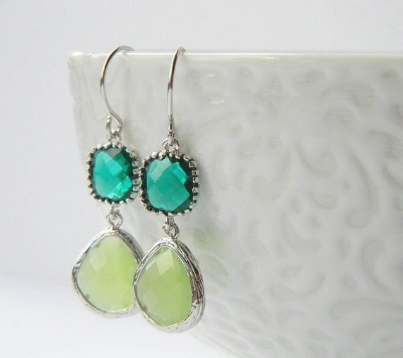 Silver Earrings - Emerald Green - Peridot Opal Green Earrings - Bridesmaid Earrings - Gift for Her - Bohemian Earrings - Boho Chic