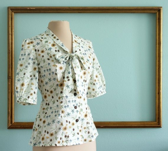 Bow tie blouse half length puff sleeves retro English cotton floral print - Jane style - FREE U.S. SHIPPING
