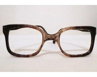Vintage 70s NOS Wayfarer Eyeglasses / Faux Tortoise Horn Rim Eyeglass / Sunglasses Frame Brown Fade never used