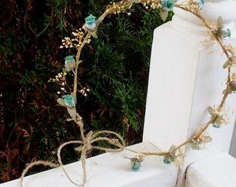 Dried flower crown -Alli- blue aqua teal headwreath babys breath summer hair flowers hippie headband bridal wreath Wedding Accessories