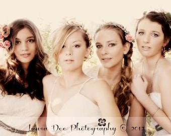 Boho bridal Crown headpiece -Meredith-  white Wedding hair accessories couronne fleurs silk wispy green Flower Hair Wreath Woodland halo
