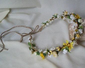 Bridal headband Hippie Hair Wreath-Bobbie Jo-Country flower crown daisies yellow flower girl halo Wedding Accessories Blessingway