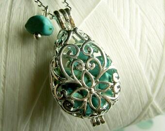 Worry Locket - turquoise teardrop locket / locket necklace / silver locket / turquoise necklace /turquoise locket /floating locket /keepsake