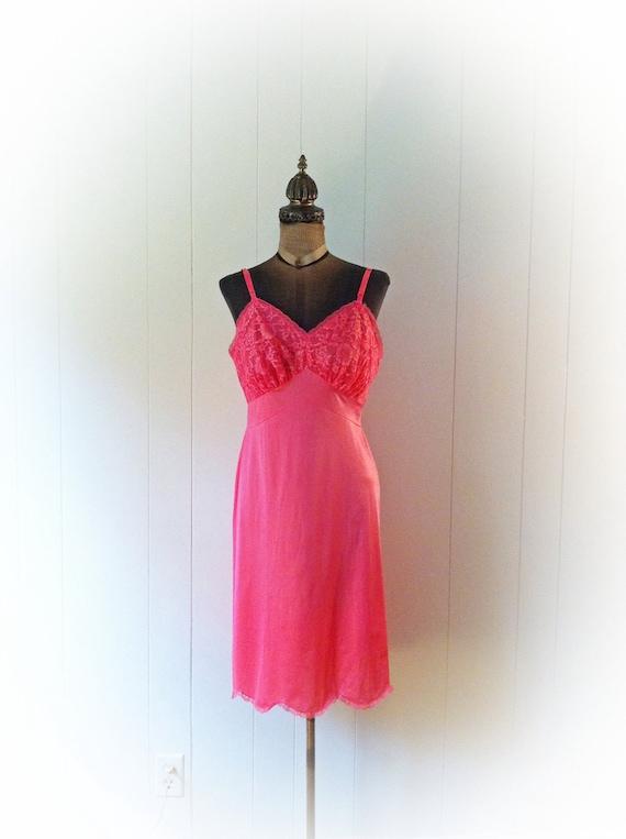 Vintage 1960s Slip Hot Pink Vanity Fair