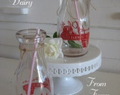 Vintage Milk Bottle - Plaths Buttercup Dairy New York - From Farm to You - Pint Size - Red Graphics - Cute Drinking Glasses
