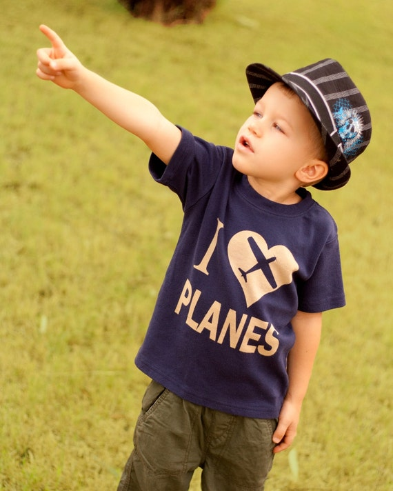 I Love Planes Toddler Airplane Shirt, Ink Free, Sizes 12m to 6, High Quality Tshirt, click for more colors
