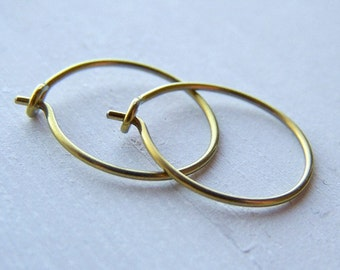 hypoallergenic gold niobium hoop earrings for sensitive ears choose your size handmade by Variya