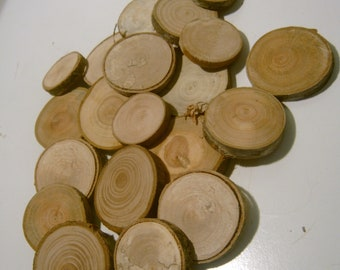 60 Assorted  Blank Tree Branch Slices 1.5 to 2 inch DIY Ornament Tag Wood Round