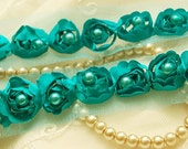 Satin Rosette Trim in AQUA with Hand Sewn Matching Pearl Beads- 1 yard