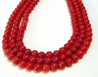 Red coral beads whole strand
