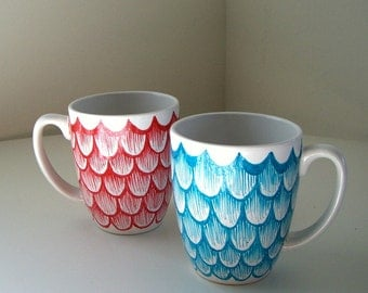 Ceramic Coffee Mug Set Painted Turquoise Blue Red Scallops Scales Nautical His and Hers Cups Mug with Handle - Ready to Ship - on sale