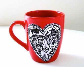 Valentine's Day Ceramic Red Mug Day of the Dead Calavera Wedding Sugar Skull Love Heart Black and White Hand Painted Dia de los muertos