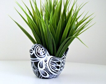 Ceramic Bird Planter Black White Painted Folk Art Tattoo Hearts Leaves Stripes Day of the Dead - MADE TO ORDER