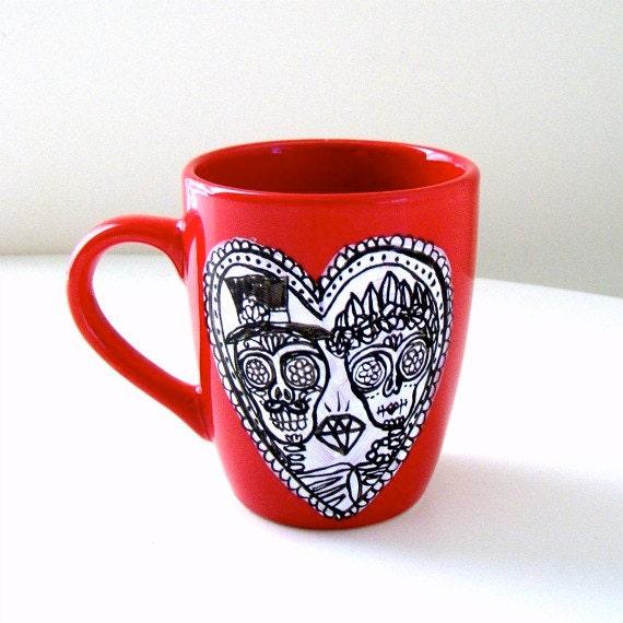 Ceramic Red Mug Day of the Dead Calavera Wedding Sugar Skull Love Heart Black and White Hand Painted Dia de los muertos