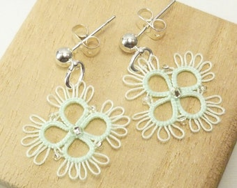 Tatted Lace Earrings in mint  -Rush with tiny glass beads