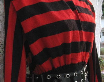 red Christmas dress, 80s PUNK Rock New Wave dress, 1980s Nautical Rugby red black stripes, rugby striped dress, red ladies striped dress