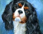 Cavalier King Charles Spaniel print, dog art, dog painting, spaniel art, animal painting 8x8 by Hope Lane