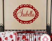 Baby Nursery Name Wall Decal with Ornate Shabby Chic Frame - Vinyl Wall Decal Monogram  Teen Dorm 22H x 32W FN0273