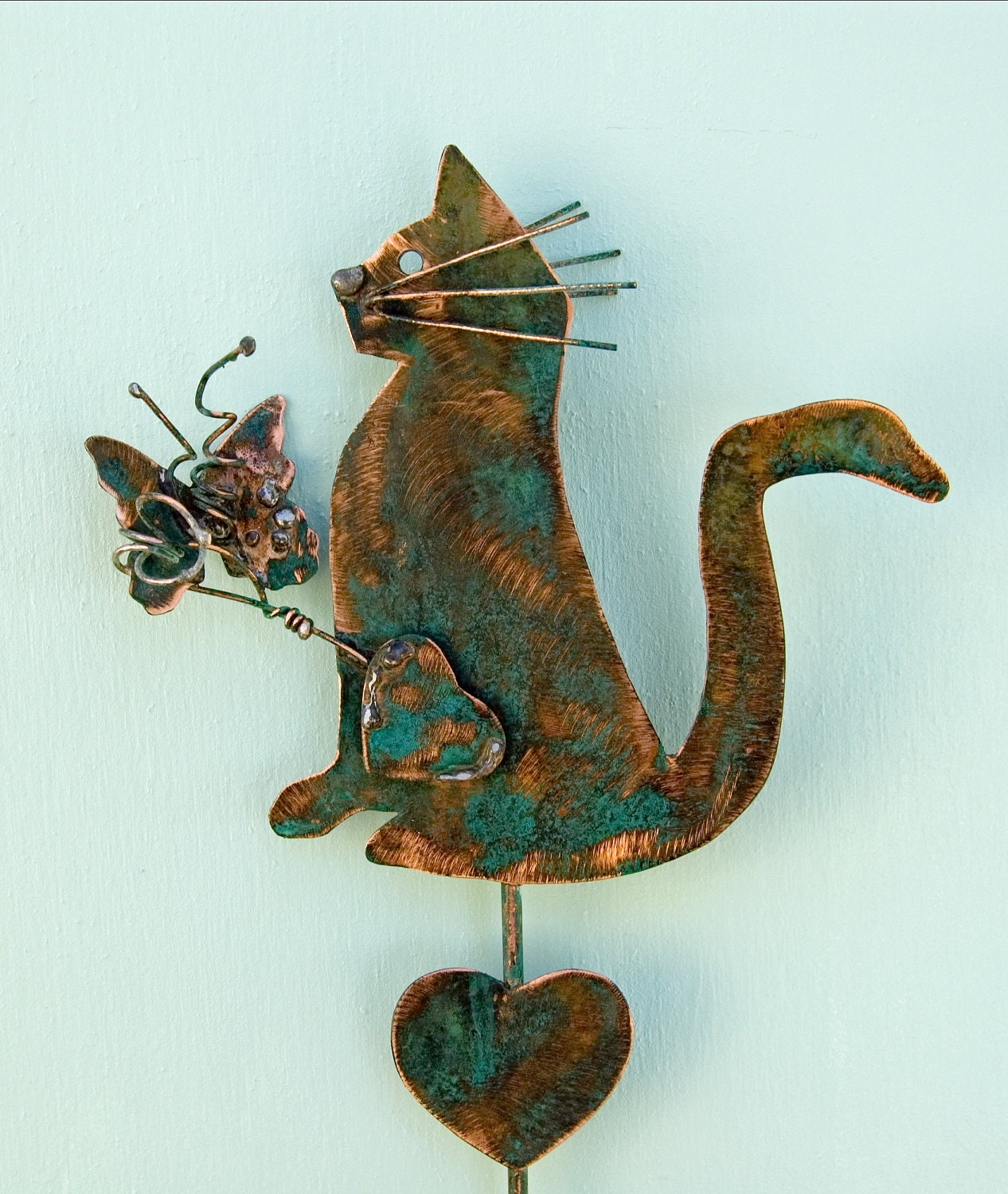 Cat plant stake with butterfly garden art by gardencopperart for Cat yard art