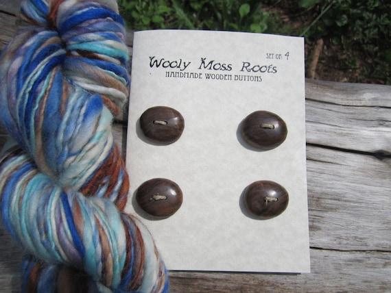4 Wood Buttons-Black Walnut- Handmade Wooden Buttons- Reclaimed Wood- Knitting, Sewing, Craft Buttons