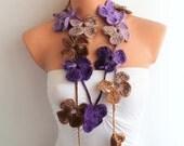 Purple Camel Brown Crochet Flower Scarf Lariat Scarf