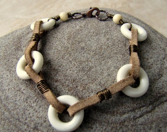 Suede Leather and Vintage Lucite Cuff - Beige and White Beaded Bracelet - Connections