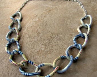 Chunky Chain Necklace - Colorful Plaid Print Chain Necklace - Stellar Statement Necklace No. 6 (Ready to Ship)