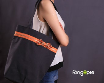 Sale 20% OFF-Ready To Ship-Zipper (Orange zip)Tote in Dark Gray/shoulder/for her/handmade/casual/bags/gift ideas/purse/handbags/novelty-055
