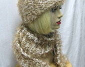 Gold Fun Fur and Cream Knit Hat and Scarf Set, Golden Fun Fur Scarf & Hat Set