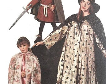 McCalls 6680 Girls/Boys Costumes Sewing Pattern Witch Magician Grim Reaper Red Riding Hood Robin Hood Maid Marian (Child 2-12) UNCUT - OOP
