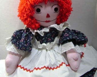 Vintage Raggedy Ann, Handmade, Large 26 Inches, Old Fashioned Christmas Doll, Embroidered, I Love You Heart, Best Friend for Life,Pristine