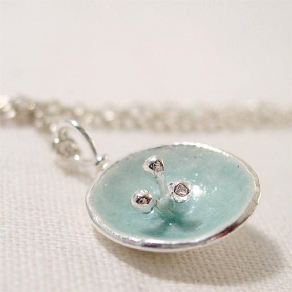 Enamel Silver Poppy Jewelry,  Duck Egg Blue Poppy Pendant, Fused Glass Enamel Poppy Flower, Abstract Flower Organic Artisan Necklace