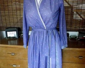 Vintage Near Sheer Lavender Floral Border Print Boho Disco Dress M/L Free shipping