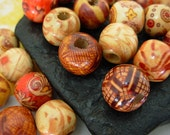 12mm Assorted Art Patterned Wood Round Beads (30)