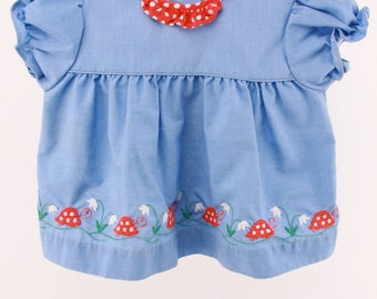 Vintage Baby Girl Denim Blue Picnic Dress Ruffles Stitched Turtle Red White Polka Dots Collar