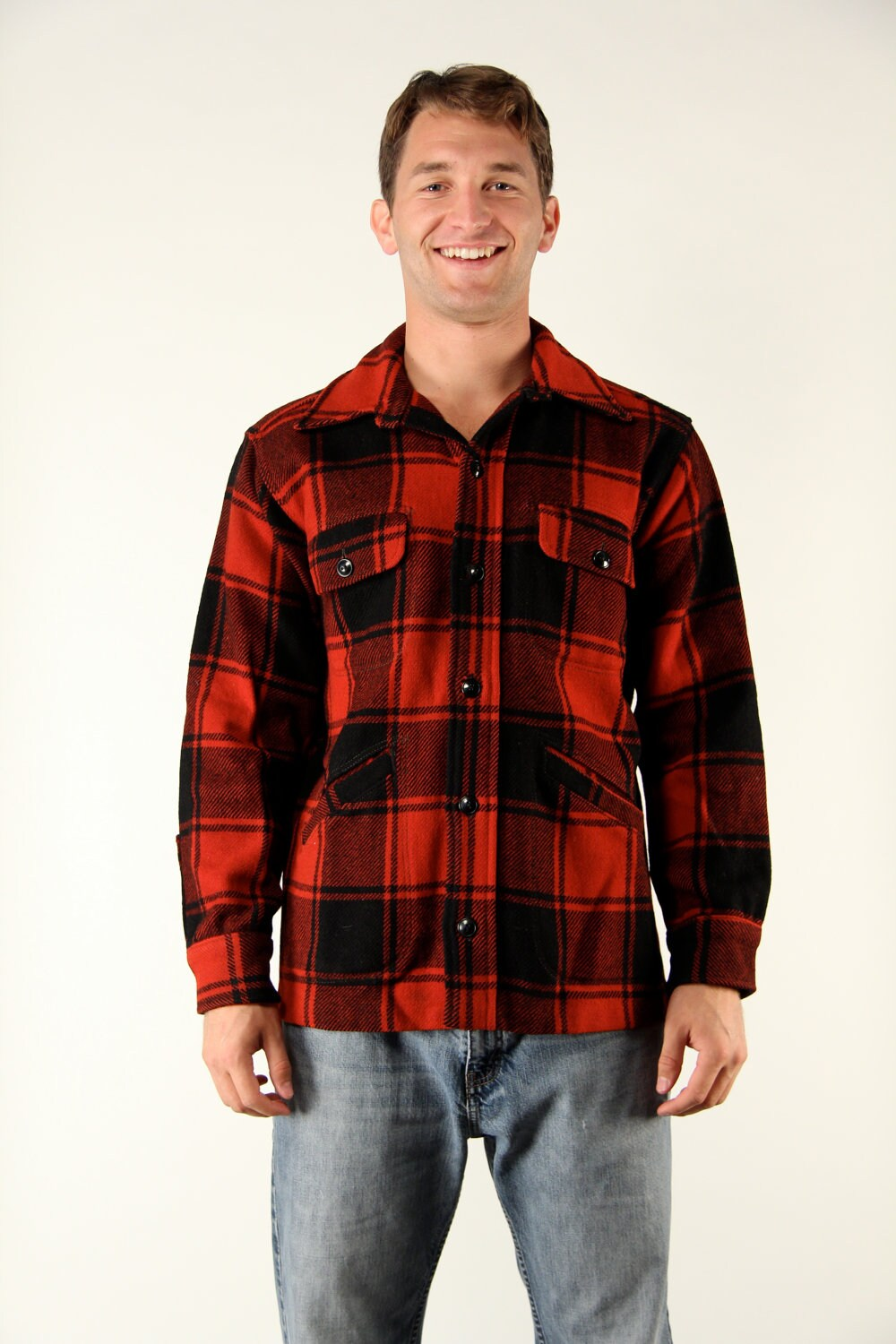 vintage 1950s maine guide lumberjack buffalo plaid black