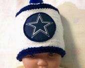 Custom handmade knit NFL Dallas Cowboys baby Hat 0-12M-cute gift photos