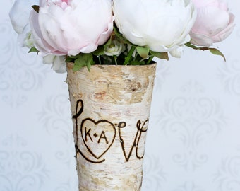 Personalized Custom Engraved  Birch Wood Vase