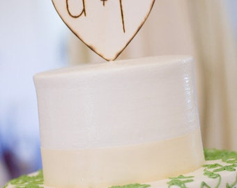 Personalized Wedding Cake Topper Rustic Engraved Heart by Morgann Hill Designs