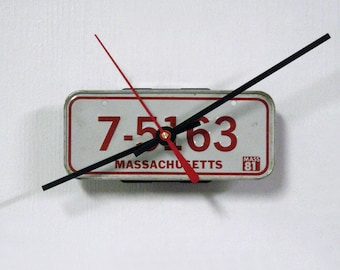 1981 Massachusetts Bike License Plate Mini Wall Clock - MA License Tag