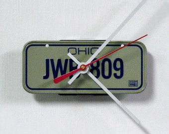 1981 Ohio Bike License Plate Wall Clock - OH Mini Bicycle License Tag Wall Decor - State Travel