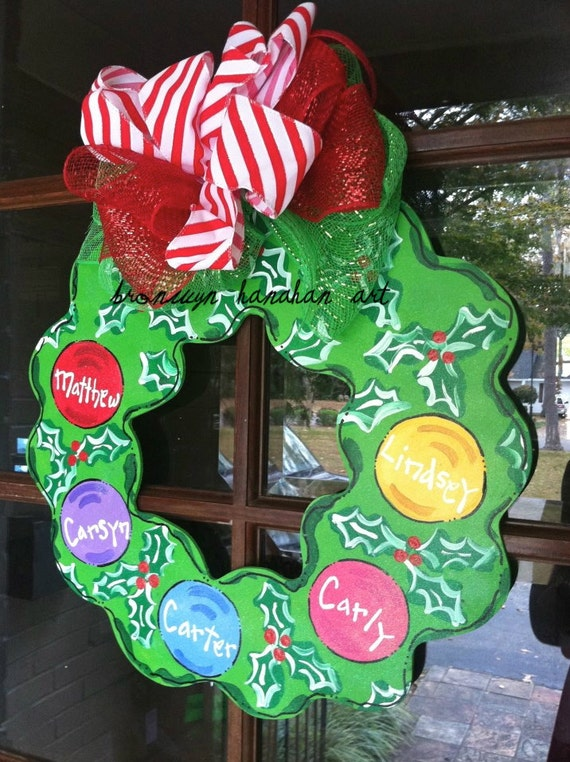 Personalized Christmas Wreath Door Hanger Bronwyn Hanahan