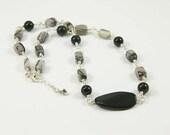 Jasper and Onyx Gemstone Necklace, Black Webbed Jasper and Black Onyx Wire Wrapped Necklace - Rustic Necklace - N1030