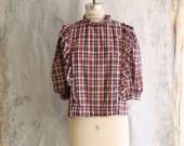 s a l e . 70s plaid high neck blouse . vintage ruffled plaid puffy sleeve shirt