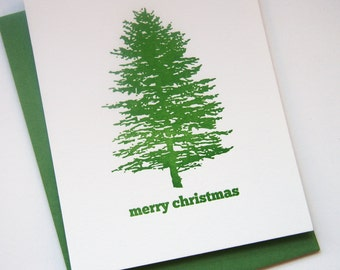 Letterpress Holiday Card Letterpress Christmas Cards - Tree