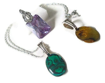 Interchangeable pendant necklace set of 3 pendants and one sterling silver chain amethyst abalone amber colored
