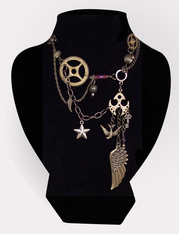 Nautical Vespertine Necklace (Purple) - OOAK Unique Steampunk Gothic Clockwork Neo Victorian Victoriana Jewellery